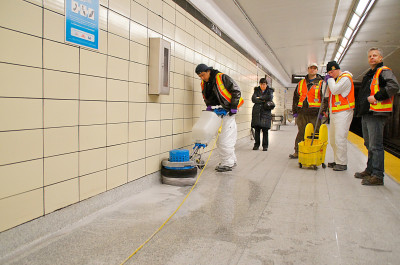 To clean 40 km of baseboard at subway