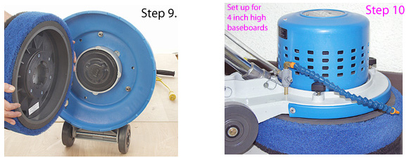 Mounting Scrub Jay baseboard cleaning attachment on Rabbit-3 floor machine