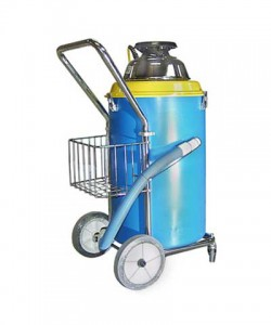 large shop vacuum cleaners picking up liquid or dry debris. It has its own tool caddy and drain hose